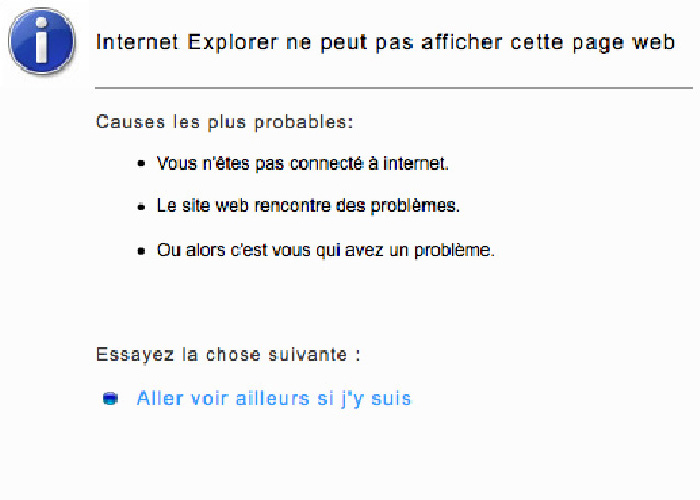message internet explorer a rencontre un probleme